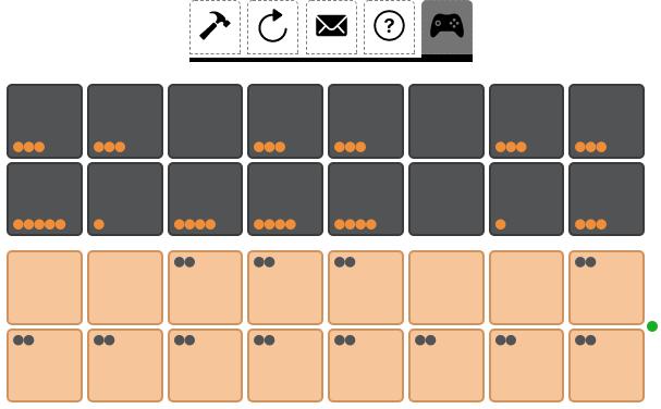 A bao game board mid game