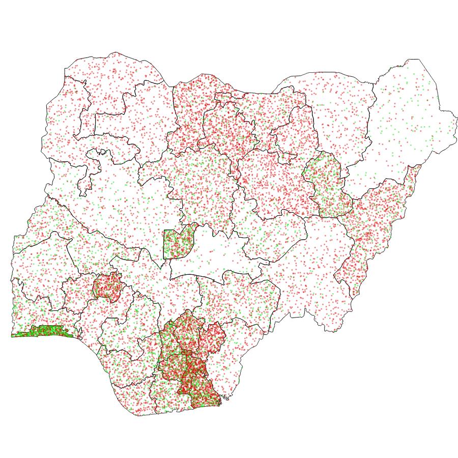 This density map shows that with the exception of states such as Lagos and Abuja, most individuals that participated in the survey reported not having internet access.