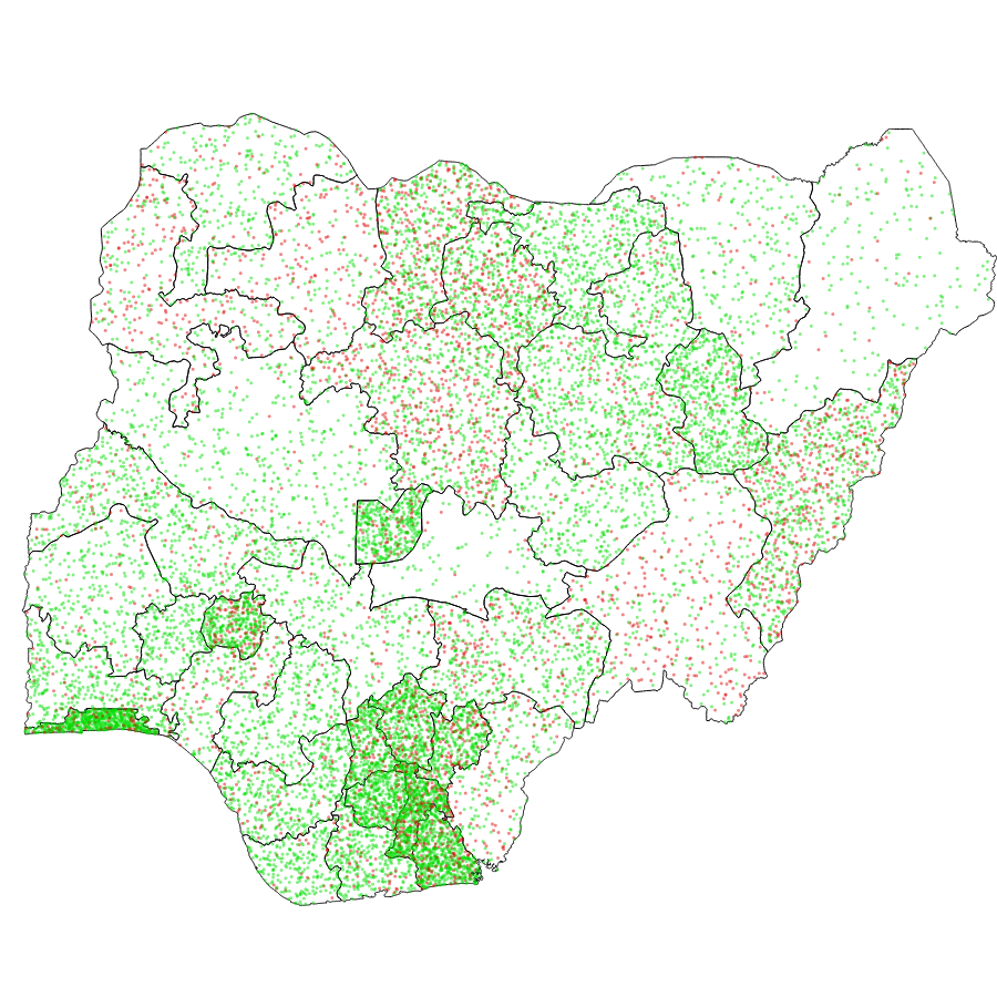 The density map shows that most people in the survey had access to phones. There appears to be slightly less phone access towards the Northern region of the country